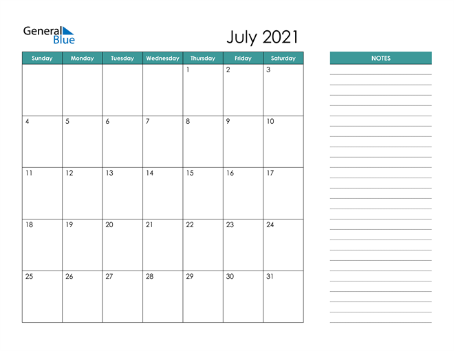 July 2021 Calendar with Notes