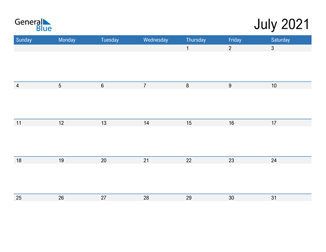 Fillable Calendar for July 2021