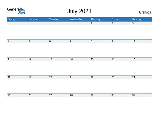 Fillable July 2021 Calendar