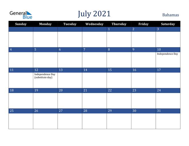 July 2021 Bahamas Calendar