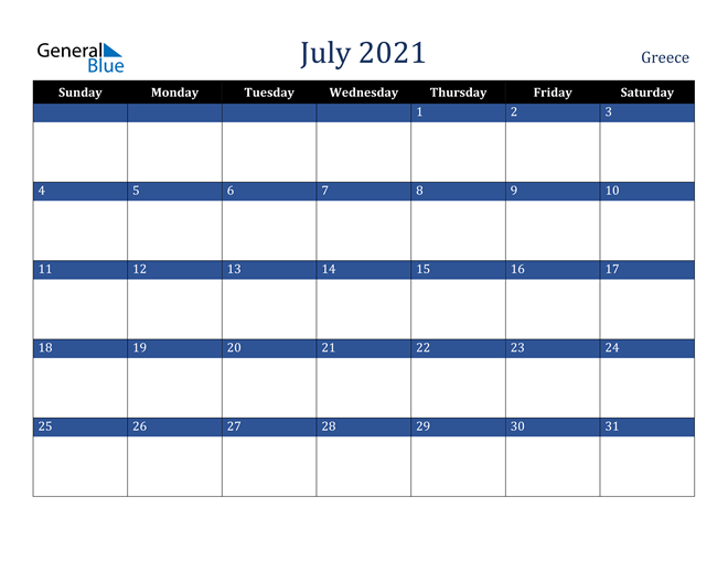 July 2021 Greece Calendar