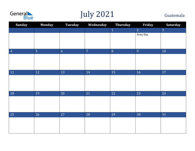 July 2021 Guatemala Calendar