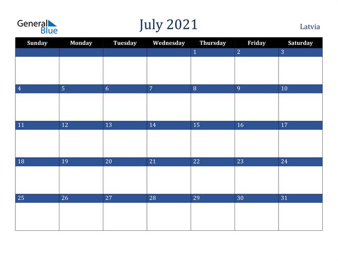 July 2021 Latvia Calendar