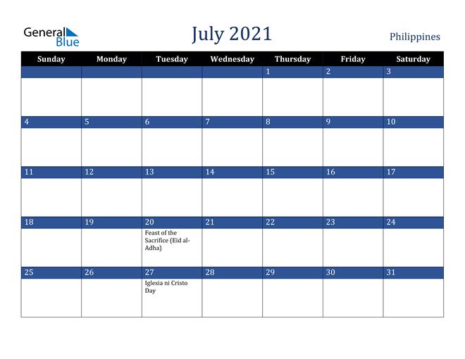 July 2021 Philippines Calendar