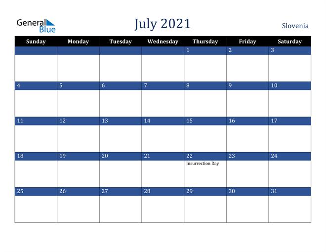 July 2021 Slovenia Calendar