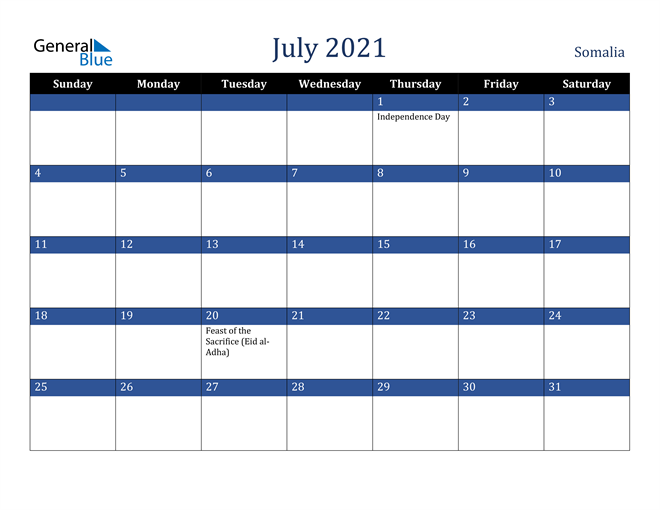 July 2021 Somalia Calendar