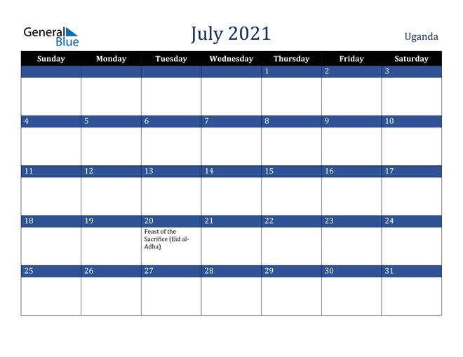 July 2021 Uganda Calendar