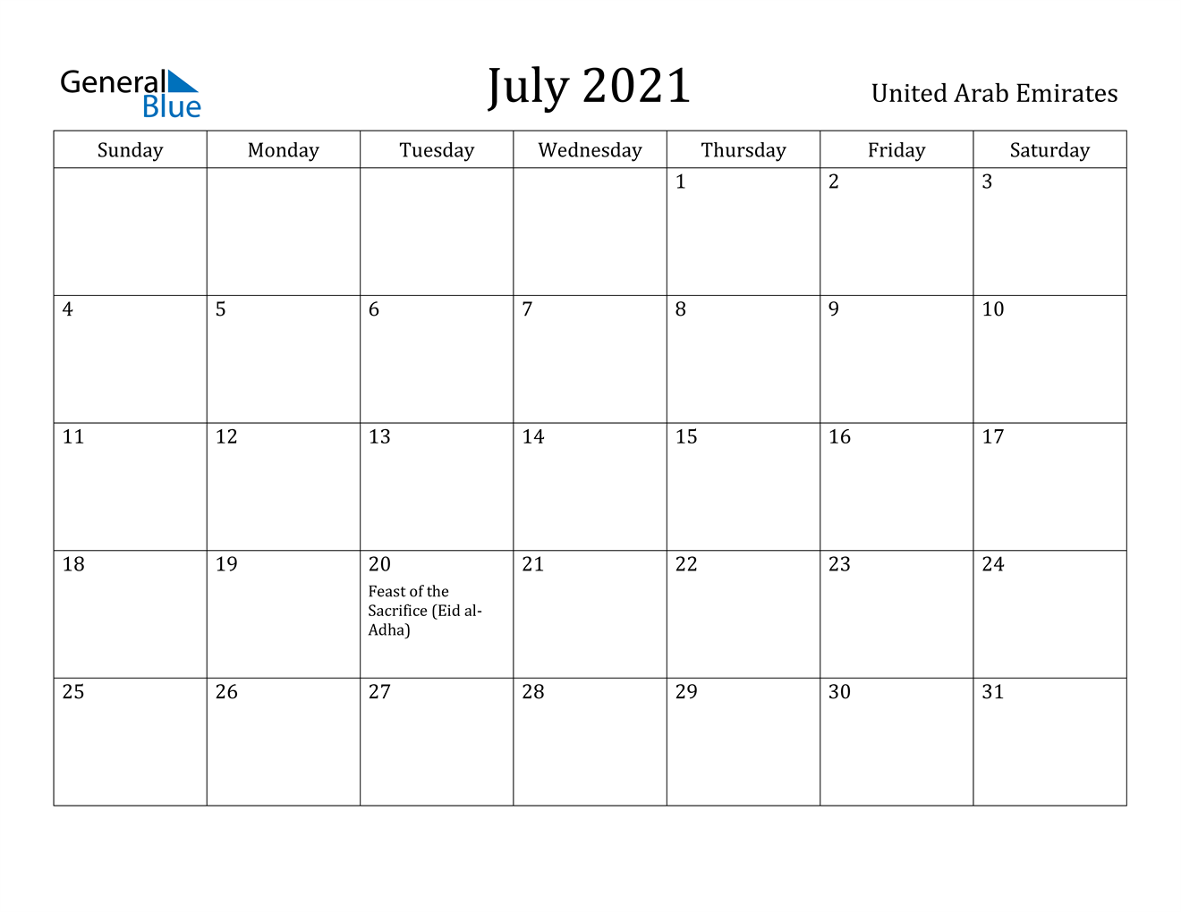 July 2021 Calendar - United Arab Emirates