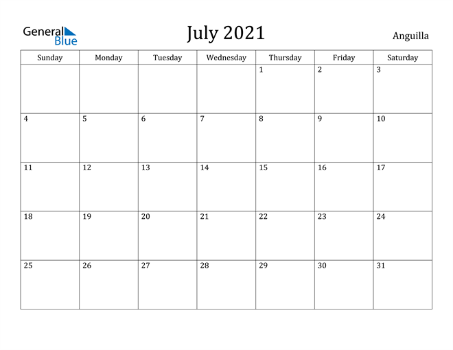 Image of July 2021 Anguilla Calendar with Holidays Calendar