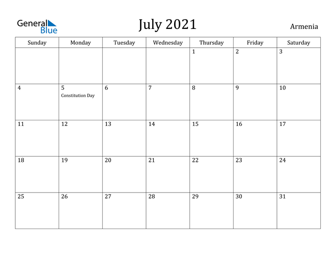 Image of July 2021 Armenia Calendar with Holidays Calendar