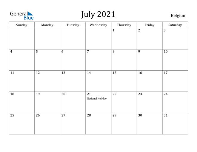Image of July 2021 Belgium Calendar with Holidays Calendar