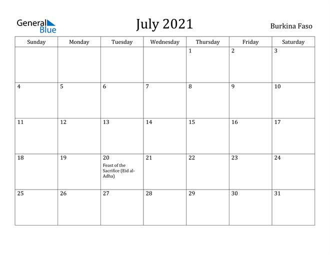 Image of July 2021 Burkina Faso Calendar with Holidays Calendar