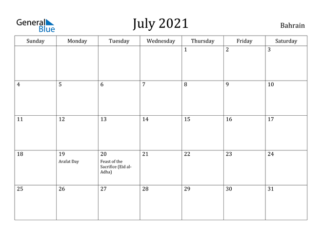 Image of July 2021 Bahrain Calendar with Holidays Calendar