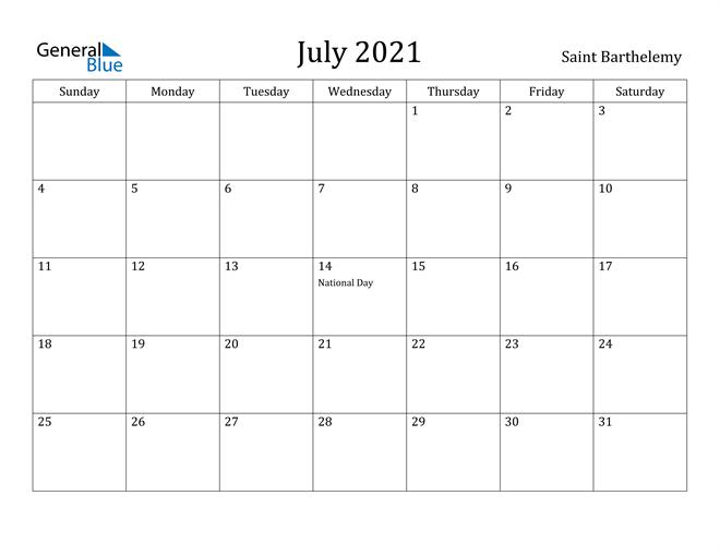 Image of July 2021 Saint Barthelemy Calendar with Holidays Calendar