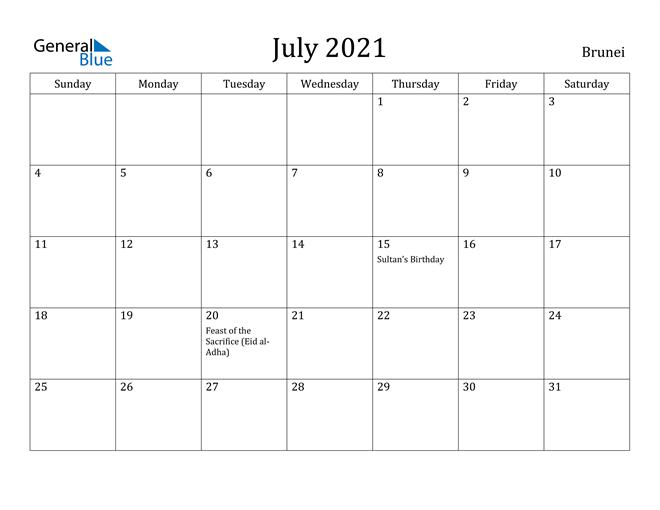 Image of July 2021 Brunei Calendar with Holidays Calendar