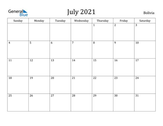 Image of July 2021 Bolivia Calendar with Holidays Calendar