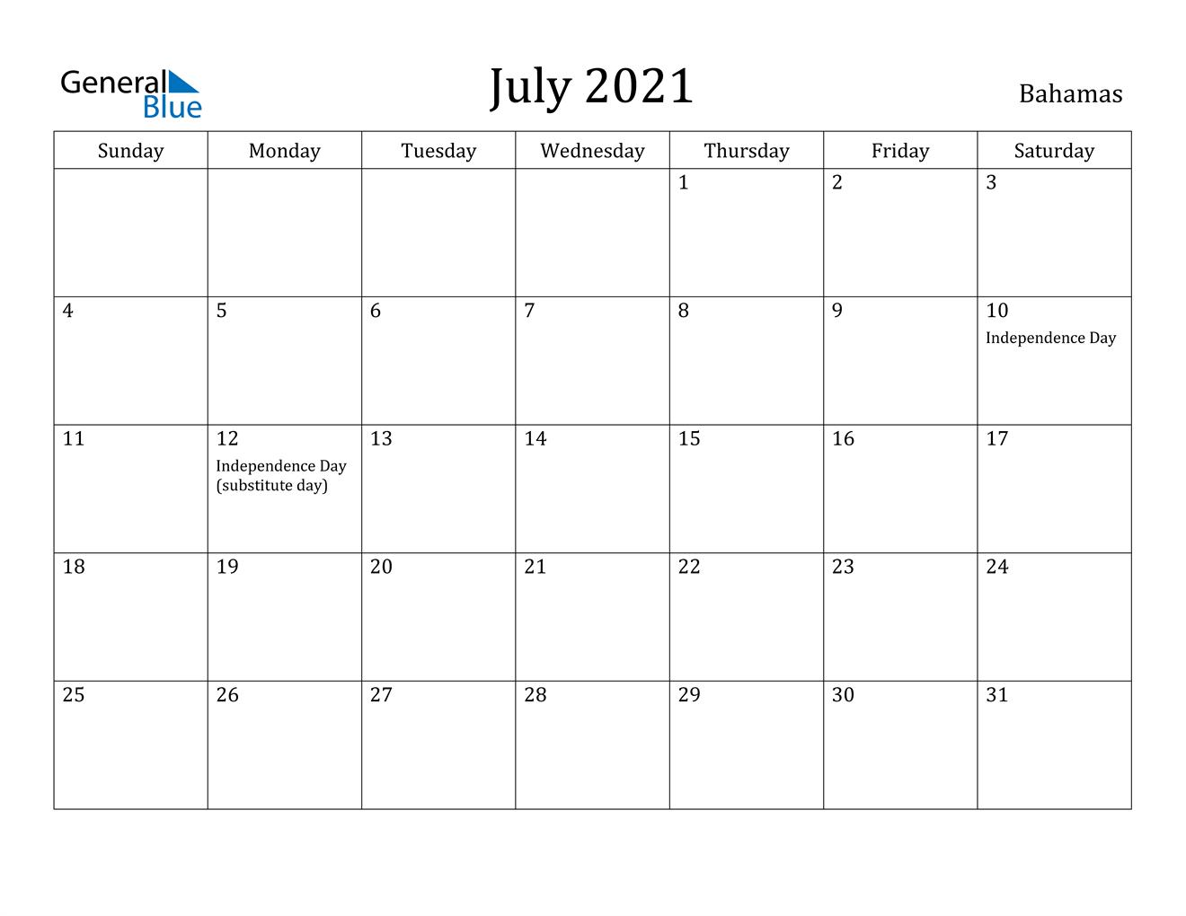 July 2021 Calendar - Bahamas