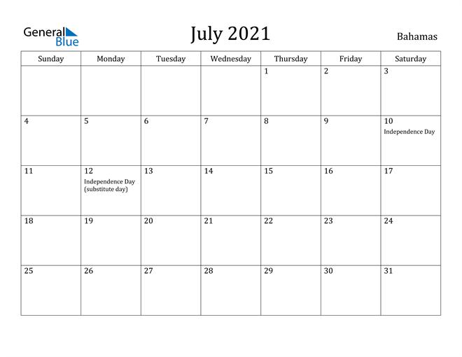 July 2021 Calendar Bahamas