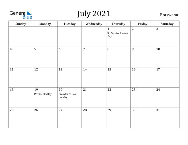 July 2021 Calendar - Botswana