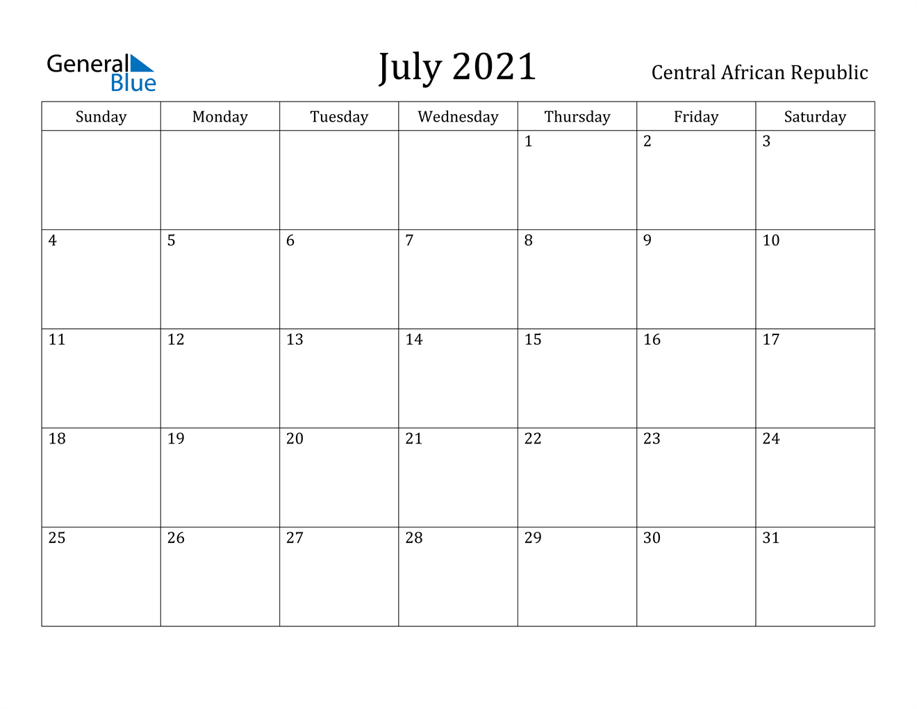 July 2021 Calendar - Central African Republic