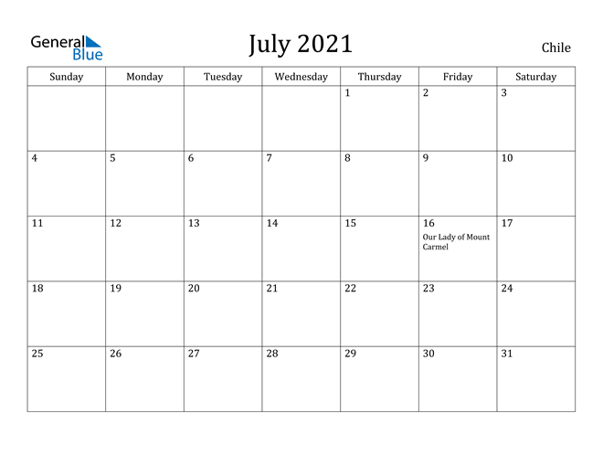 Image of July 2021 Chile Calendar with Holidays Calendar