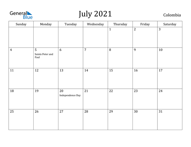 Image of July 2021 Colombia Calendar with Holidays Calendar