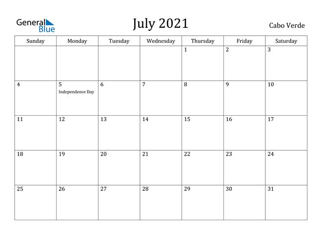 Image of July 2021 Cabo Verde Calendar with Holidays Calendar