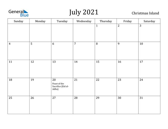 Image of July 2021 Christmas Island Calendar with Holidays Calendar