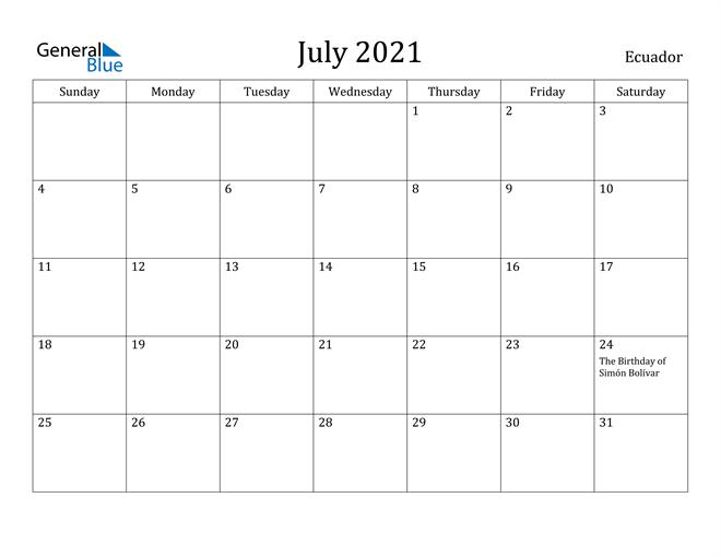 Image of July 2021 Ecuador Calendar with Holidays Calendar