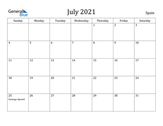 Image of July 2021 Spain Calendar with Holidays Calendar