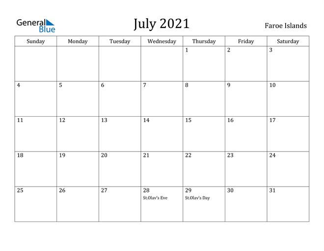 Image of July 2021 Faroe Islands Calendar with Holidays Calendar