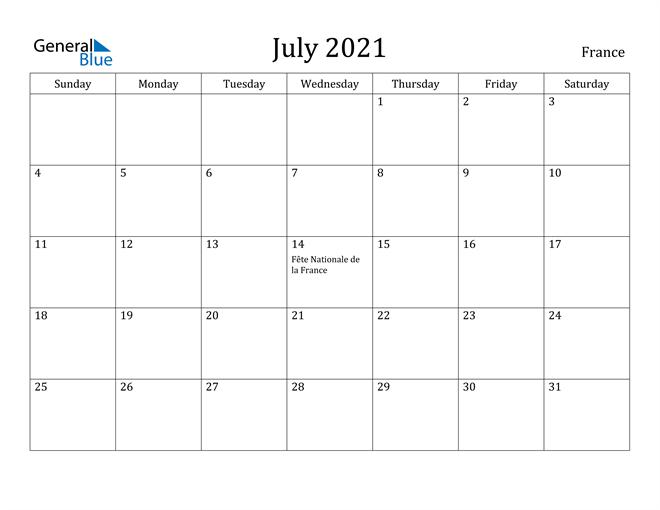 Image of July 2021 France Calendar with Holidays Calendar