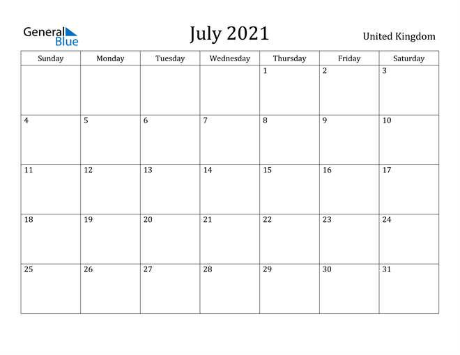 Image of July 2021 United Kingdom Calendar with Holidays Calendar