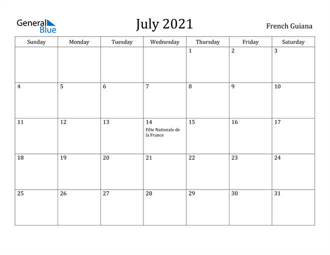 Image of July 2021 French Guiana Calendar with Holidays Calendar