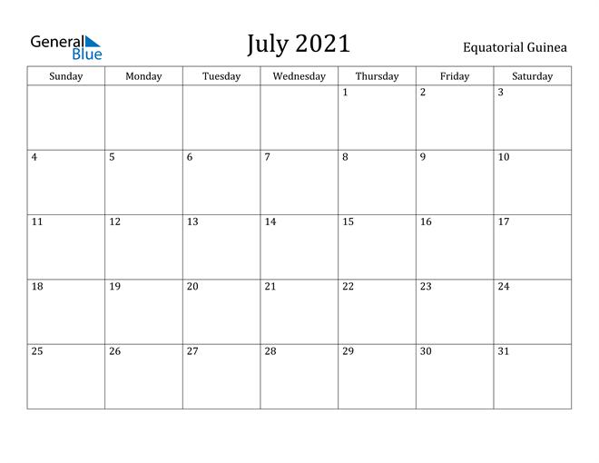 Image of July 2021 Equatorial Guinea Calendar with Holidays Calendar