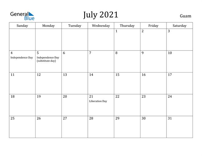Image of July 2021 Guam Calendar with Holidays Calendar