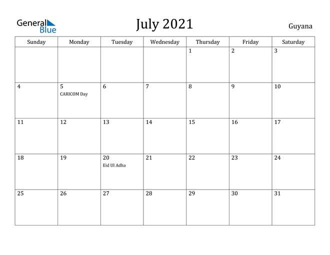 Image of July 2021 Guyana Calendar with Holidays Calendar