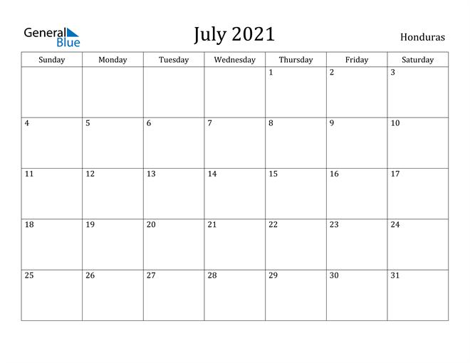 Image of July 2021 Honduras Calendar with Holidays Calendar