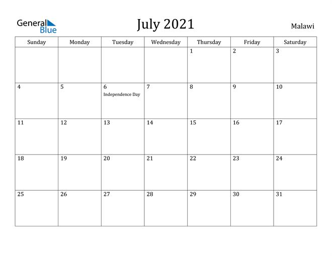 July 2021 Calendar Malawi