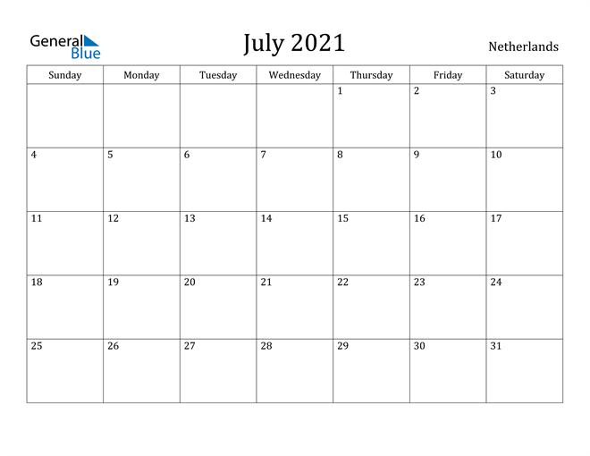 Image of July 2021 Netherlands Calendar with Holidays Calendar