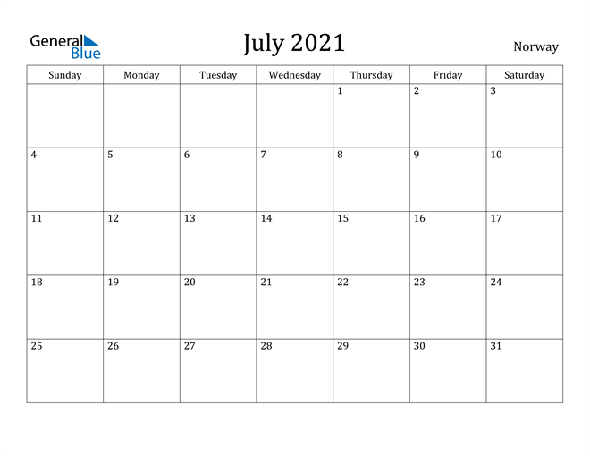 Image of July 2021 Norway Calendar with Holidays Calendar