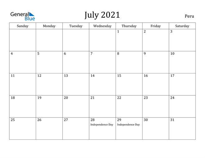 Image of July 2021 Peru Calendar with Holidays Calendar