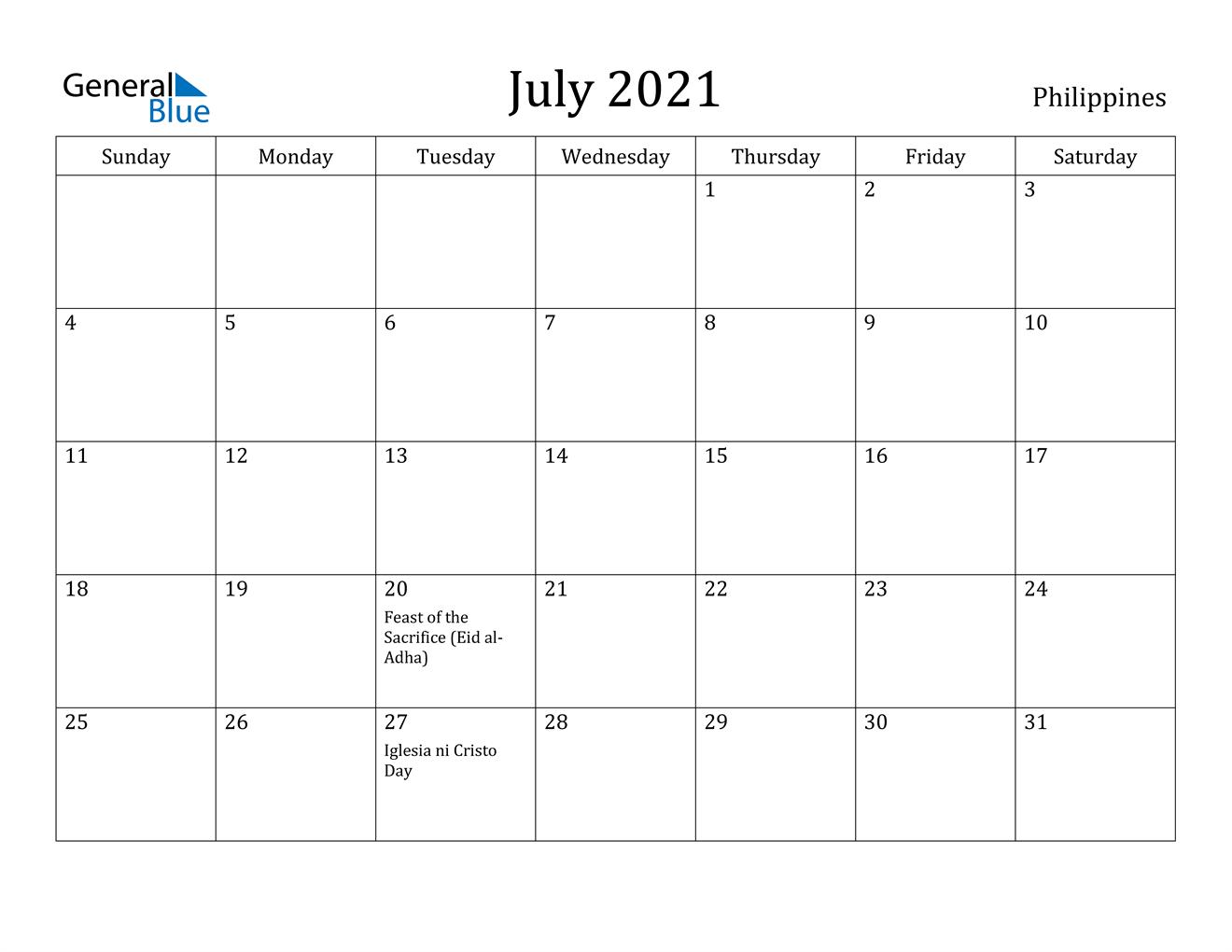 July 2021 Calendar - Philippines