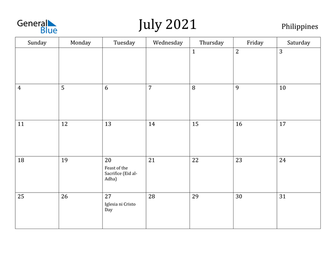 Image of July 2021 Philippines Calendar with Holidays Calendar
