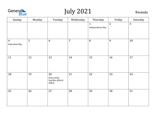 Image of July 2021 Rwanda Calendar with Holidays Calendar