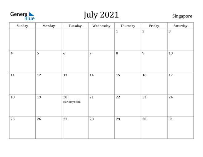Image of July 2021 Singapore Calendar with Holidays Calendar
