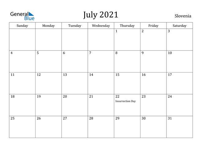 July 2021 Calendar Slovenia