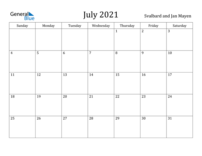 Image of July 2021 Svalbard and Jan Mayen Calendar with Holidays Calendar
