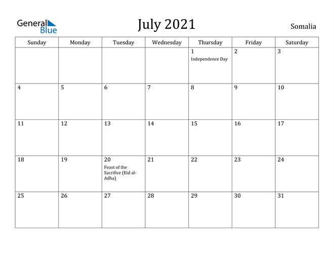 July 2021 Calendar Somalia