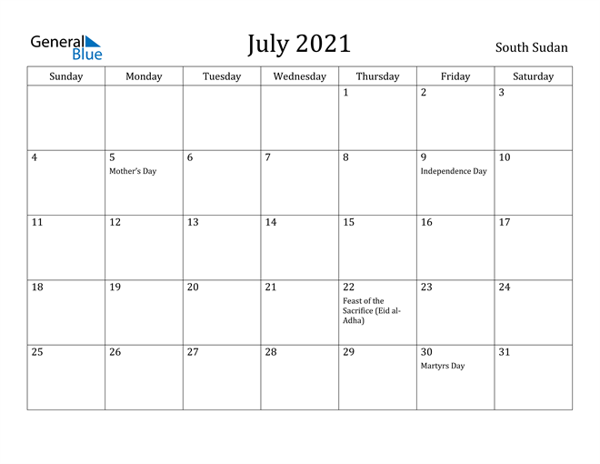 Image of July 2021 South Sudan Calendar with Holidays Calendar